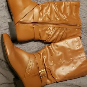 Womens Slouch Brown/Gokd boots